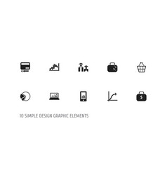 set of 10 editable logical icons includes symbols vector image