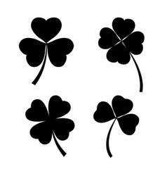 Set of black clover leaves on white background vector
