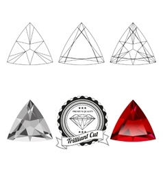 Set of trilliant cut jewel views vector image