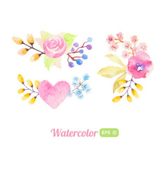 set of watercolor flower elements vector image