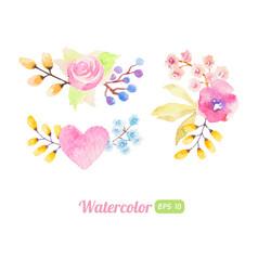 Set watercolor flower elements vector