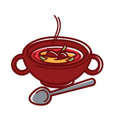 Soup bowl spicy kharcho caucasian cuisine food vector