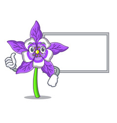 Thumbs up with board columbine flower character vector