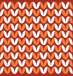 Tile red orange and white knitting pattern vector