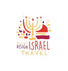 Travel to israel logo with hanukkah candles vector
