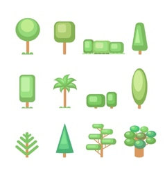 Tree icon set - Various trees and plants Nature vector