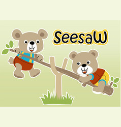 Two bear playing seesaw cartoon vector