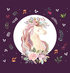 vintage with cute unicorn vector image