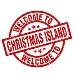 Welcome to christmas island red stamp vector