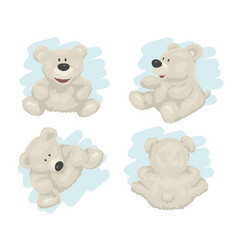 white teddy bear in different poses isolated vector image