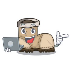 With laptop working boots isolated on the mascot vector