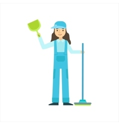 Woman Standing With Broom And Duster Cleaning vector image