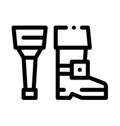 wooden leg icon outline vector image