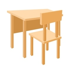 Wooden school desk and chair icon cartoon style vector