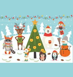 christmas characters around the christmas tree vector image vector image