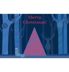Christmas tree Merry and Happy New Year card with vector image vector image