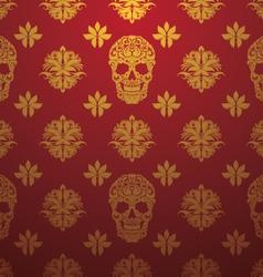 Gold Skull Ornamental Pattern vector image vector image