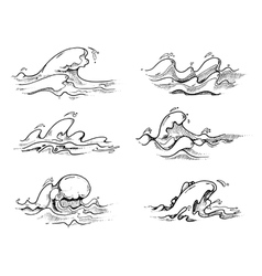 Hand drawn waves in black over white vector image vector image