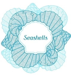 Marine background with stylized seashells Design vector image