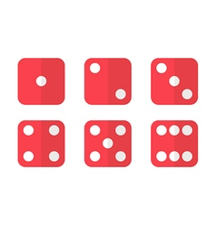 Red flat design dice icons vector image
