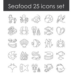 set of fish and seafood vector image