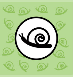 snail icon sign and symbol on green background vector image vector image