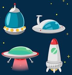 UFO Spaceship Cartoon Design Set vector image