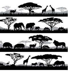 wild african life background silhouettes of vector image vector image