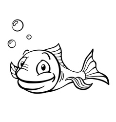 Black and white cartoon fish vector image