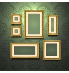 Golden Frames On Wall vector image