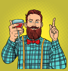 hipster with a glass of red wine vector image