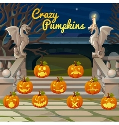 Porch with stone figures of dragons and pumpkins vector image vector image