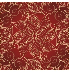 Red background with golden flowers vector image vector image