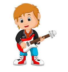 Rock star guitar player vector