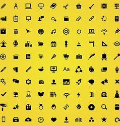 100 art design icons vector image