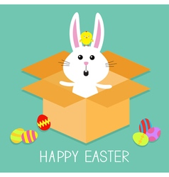 Cute bunny rabbit chicken and eggs Paper cardboard vector image vector image