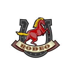rodeo prancing horse horseshoe vector image vector image