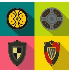Shields banners set flat style vector image