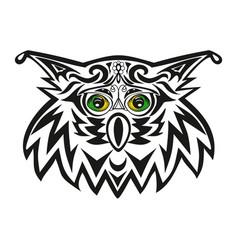 the head of an owl a night bird of prey a vector image vector image