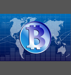 bitcoin and world map vector image