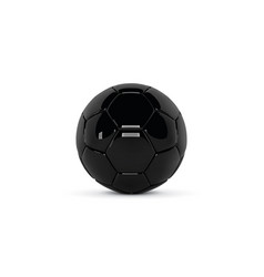black leather ball gloss soccer ball on white vector image vector image