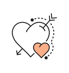 line heart and arrow icon flat vector image