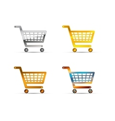 Shopping carts icons made of silver gold and vector image