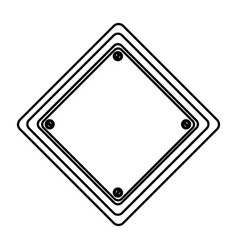 Silhouette diamond shape traffic sign icon vector