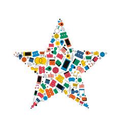 social media network star shape concept icon vector image vector image