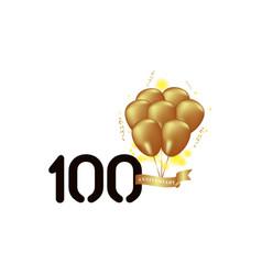 100 year anniversary black gold balloon template vector