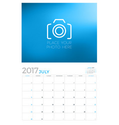 2017 wall calendar planner design template july vector image