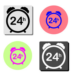 24 hour steady available services flat icon vector image
