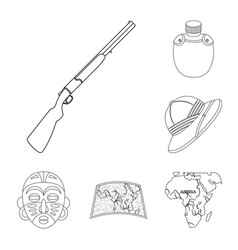 african safari outline icons in set collection for vector image