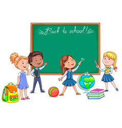 Back to school school board and cute children vector